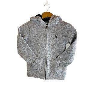 Hurley Boys Sweater Knit Hooded Zip Up Hoodie Sz:S